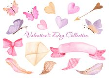 Watercolor heart, butterflies, envelope, ribbon, bow. Illustration of elements on a white background for wedding, greeting cards, Valentine`s Day invitations vector illustration