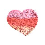 Watercolor heart with capillaries. Design element, vector illustration stock illustration