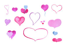 Watercolor heart clipart. Hot pink watercolour heart isolated on white. Hand-painted heart icons or stickers for Valentine`s Day design, wedding invitation Stock Photos
