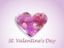 Watercolor heart on a color background. Stock Photo