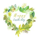 Watercolor heart with Earth day sign. Watercolor heart shaped green and golden leaves with Happy Earth day sign isoalted on white vector illustration