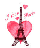 Watercolor heart and Eiffel Tower Royalty Free Stock Photos