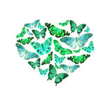 Watercolor heart filled with bright transparent butterflies of blue, green, turquoise, mint shades. Watercolor heart filled with bright transparent butterflies Stock Photography