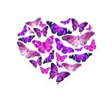 Watercolor heart filled with bright transparent butterflies of violet shades. Stock Images