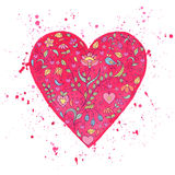Watercolor heart with floral pattern Stock Photos
