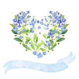 Watercolor heart. Forget-me-nots and ribbon. Watercolor heart-shaped and ribbon set. Blue forget-me-nots with green leaves on white background. Can be used as Royalty Free Stock Photography