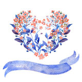 Watercolor heart. Forget-me-nots and ribbon. Watercolor heart-shaped and ribbon set. Red forget-me-nots with blue leaves on white background. Can be used as Royalty Free Stock Photo