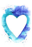 Watercolor heart frame on blue grunge background. On white, color of water, sea Stock Images
