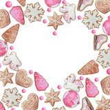 Watercolor heart frame of Christmas or New Year cookies royalty free illustration