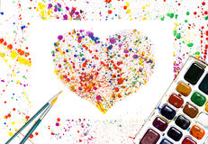 Watercolor heart frame Royalty Free Stock Image