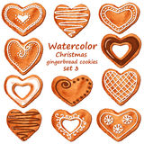 Watercolor heart gingerbread cookies Royalty Free Stock Photos