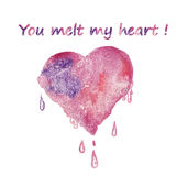 Watercolor heart greeting card - you melt my heart Stock Image