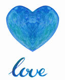 Watercolor heart with handlettering Stock Photos