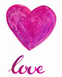 Watercolor heart with handlettering Stock Images