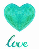 Watercolor heart with handlettering Royalty Free Stock Photography
