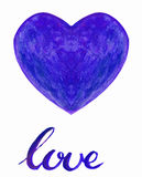 Watercolor heart with handlettering Stock Image