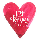 Watercolor heart with handwriting isolated. Royalty Free Stock Photography