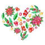 Watercolor heart I love Christmas, poinsettia, holly berries, stars, bow. Invitation card. Elements in heart shape isolated on vector illustration