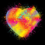 Watercolor Heart Isolated on Black. EPS 8 Stock Photo