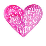 Watercolor heart lettering Stock Photos