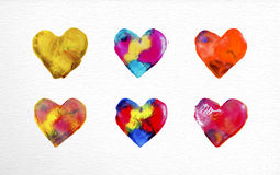 Watercolor heart love set illustration Royalty Free Stock Photos