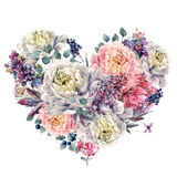 Watercolor Heart made of Peonies and Lilac Royalty Free Stock Photo