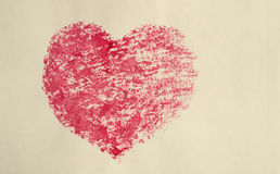 Watercolor heart, old postcard stylized. Stock Photography