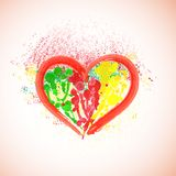 Watercolor heart on paint splattered background. Valentine background. Royalty Free Stock Photo