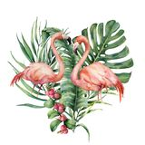 Watercolor heart with palm leaves and flamingo. Hand painted exotic bird, coconut and banana branch, monstera, berries. Isolated on white background. Love royalty free stock photo