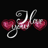 Watercolor heart pattern with lettering I love you. Ornament Royalty Free Stock Image