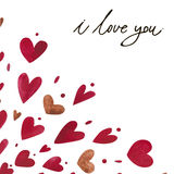 Watercolor heart pattern with lettering I love you. Ornament Stock Image