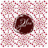 Watercolor heart pattern with lettering I love you. Ornament Royalty Free Stock Images