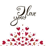 Watercolor heart pattern with lettering I love you. Ornament Royalty Free Stock Photos