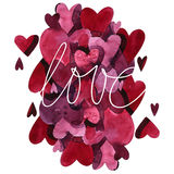 Watercolor heart pattern with lettering I love you. Ornament stock illustration