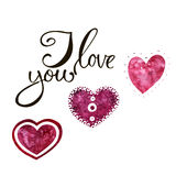 Watercolor heart pattern with lettering I love you. Ornament Stock Images