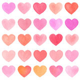 Watercolor heart pattern on white background. Royalty Free Stock Photos
