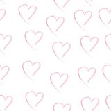 Watercolor heart pink color hand drawn seamless Royalty Free Stock Image