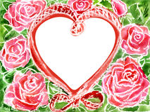 Watercolor heart from roses. Water color heart in roses for the text on wedding Royalty Free Stock Photography