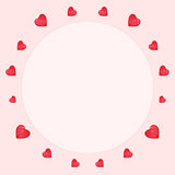 Watercolor heart Saint Valentine's day circle frame Stock Image