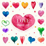 Watercolor heart set. Colorful watercolor heart set with different heart shapes Royalty Free Stock Images