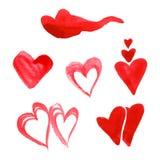 Watercolor heart set Stock Photography