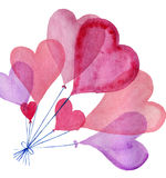 Watercolor heart set. Watercolor painted heart, element for your lovely design.Watercolor illustration for your card or poster. Colorful watercolor heart on a Royalty Free Stock Photos