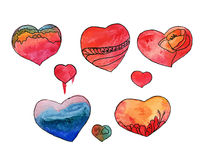 Watercolor heart set. Watercolor heart red set illustration Royalty Free Stock Image