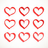 Watercolor heart set on a white background Royalty Free Stock Photo