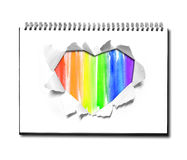 Watercolor Heart shape paper on book Stock Photo