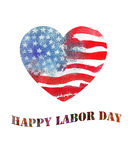 Watercolor heart shaped american flag. Labor Day. Watercolor heart shaped american flag. Happy Labor Day Stock Photography