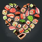 Watercolor heart shaped card with sushi and rolls on chalkboard background. Japanese food illustration
