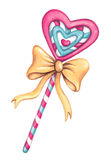 Watercolor Heart Shaped Lollipop. Candy with yellow ribbon. Stock Photo