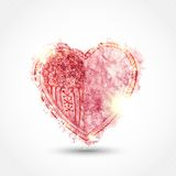 Watercolor heart with sparkles on gray background Royalty Free Stock Images