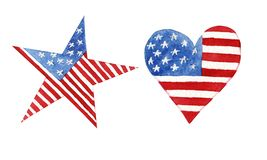 Watercolor heart and star with american flag isolated vector illustration